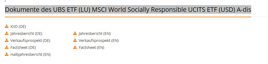 Factsheet nachhaltiger ETF